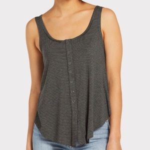Anama Snap Front Tie Tank Top Charcoal